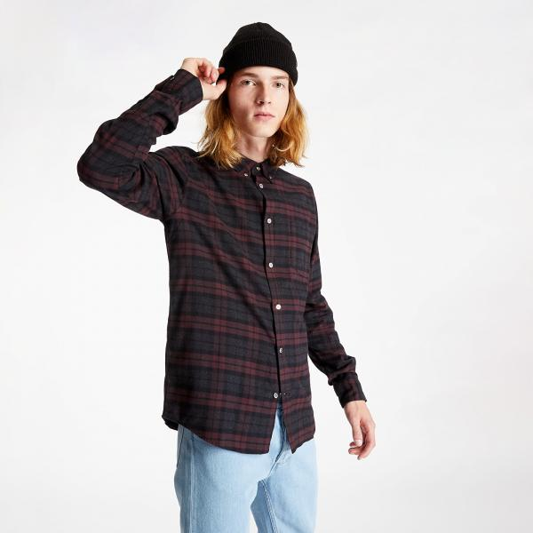 Norse Projects Anton Brushed Flannel Check Shirt Eggplant Brown