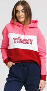 TOMMY JEANS W Colorblock Hoodie růžová / bílá / červená