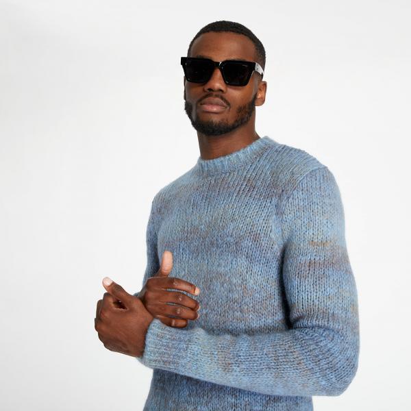 A.P.C. Rudy Chunky Crew Knit Sweatshirt Blue