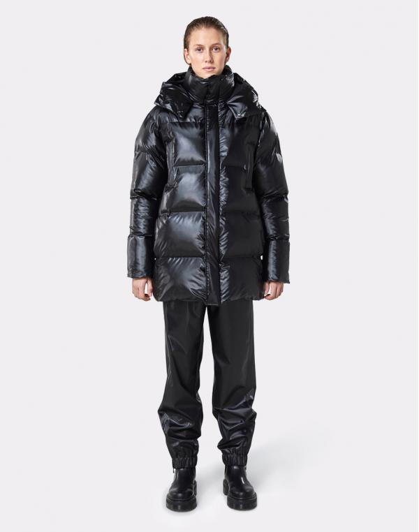 Rains Puffer Hooded Coat 76 Shiny Black M/L
