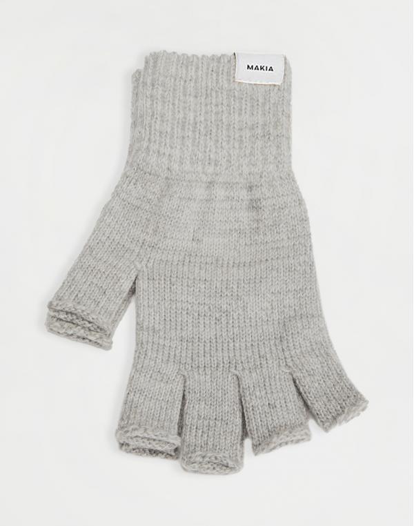 Makia Wool Fingerless Gloves Light Grey