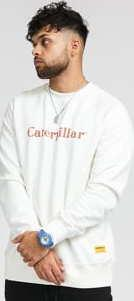 CATERPILLAR Basic Printed Logo Sweatshirt bílá