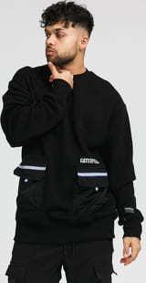 CATERPILLAR Pocket Roundneck Sweatshirt černá