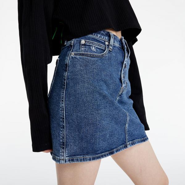 Calvin Klein Jeans High Rise Denim Mini Skirt Denim Dark
