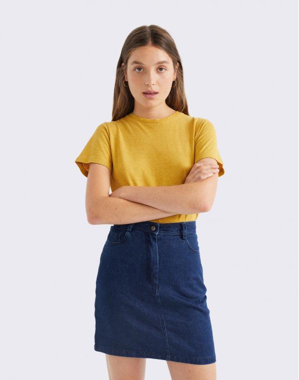 Thinking MU Denim Hemp Marsha Skirt DENIM S