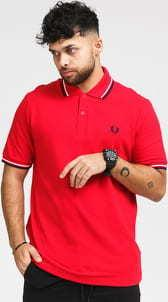 FRED PERRY Twin Tipped Fred Perry Shirt červené