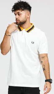 FRED PERRY Striped Collar Polo Shirt bílé