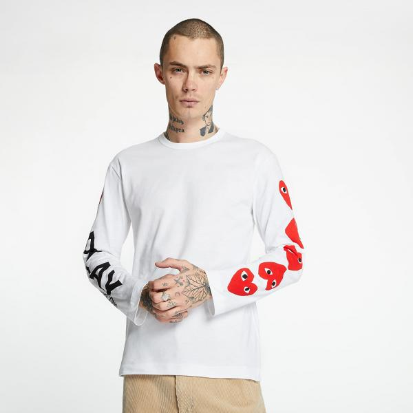Comme des Garcons PLAY Long Sleeve Tee White