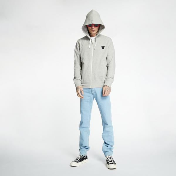 Comme des Garcons PLAY Full Zip Hoodie Grey