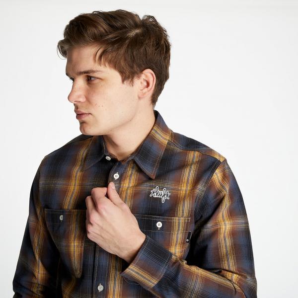 HUF Sanford Long Sleeve Flannel Shirt Rich Brown