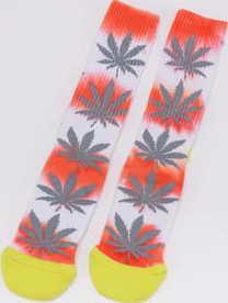 HUF Tiedye Plantlife Sock bílé / šedé / oranžové / žluté