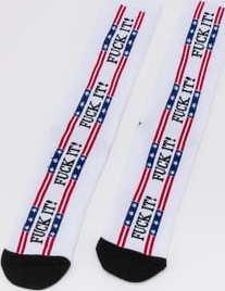 HUF F*ck It! Flag Sock bílé / černé / červené / modré