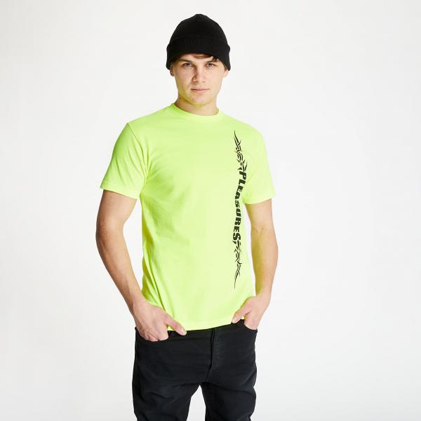 PLEASURES Razor Logo Tee Safety Green