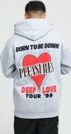 PLEASURES Deep Love Hoody melange šedá