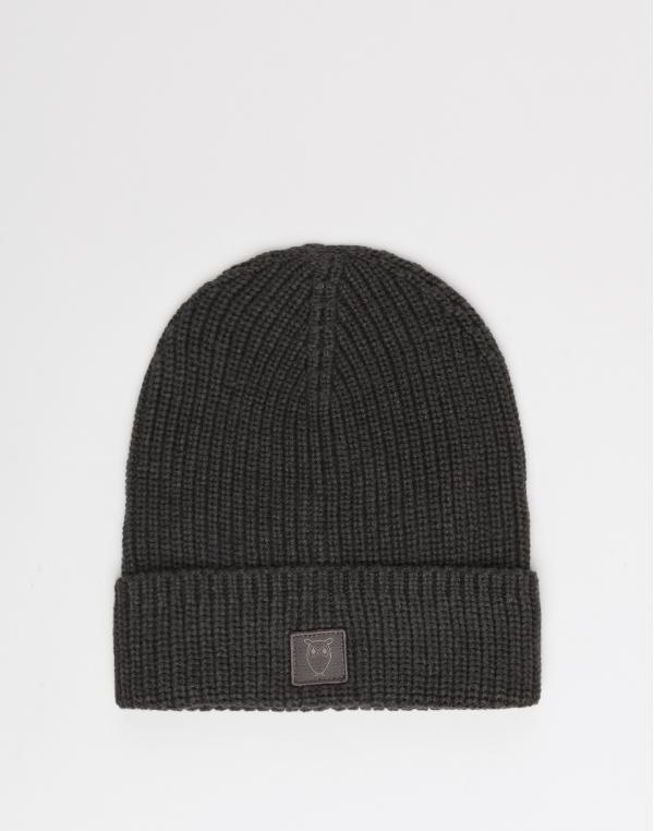 Knowledge Cotton LEAF ribbing hat 1073 Dark Grey Melange