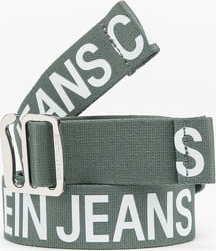 CALVIN KLEIN JEANS Slider Tape Belt 35mm zelený / bílý 100 cm