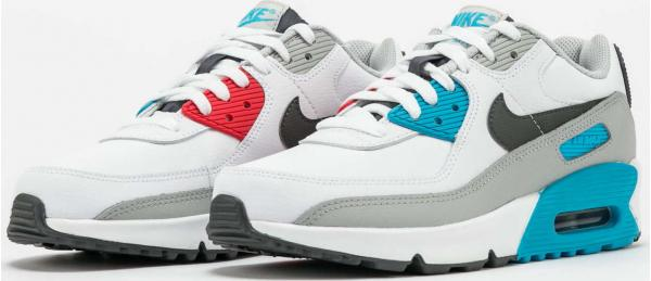 Nike Air Max 90 Leather (GS) white / irongrey - chlorine blue