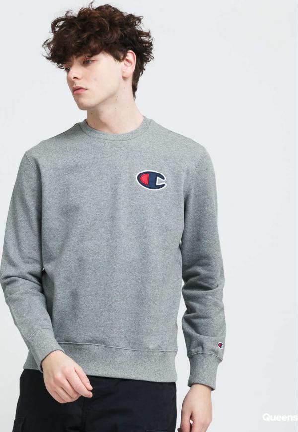 Champion Satin C Logo Cotton Terry Sweatshirt melange šedá