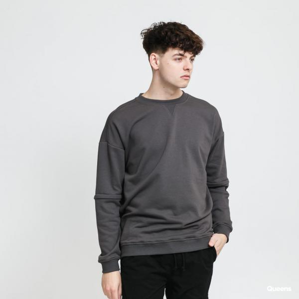 Urban Classics Zip Away Oversized Terry Crew tmavě šedá
