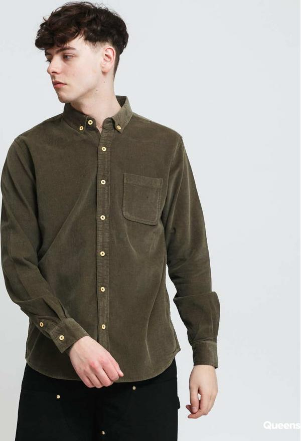 Urban Classics Corduroy Shirt olivová