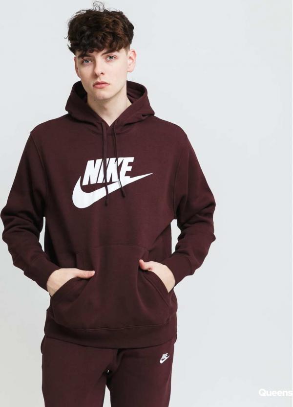 Nike M NSW Club Hoodie PO BB tmavě vínová