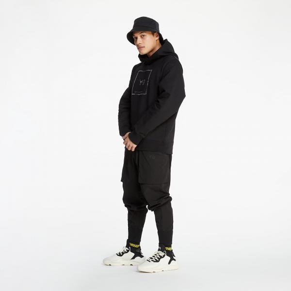 Y-3 Square Label Graphic Hoodie Black