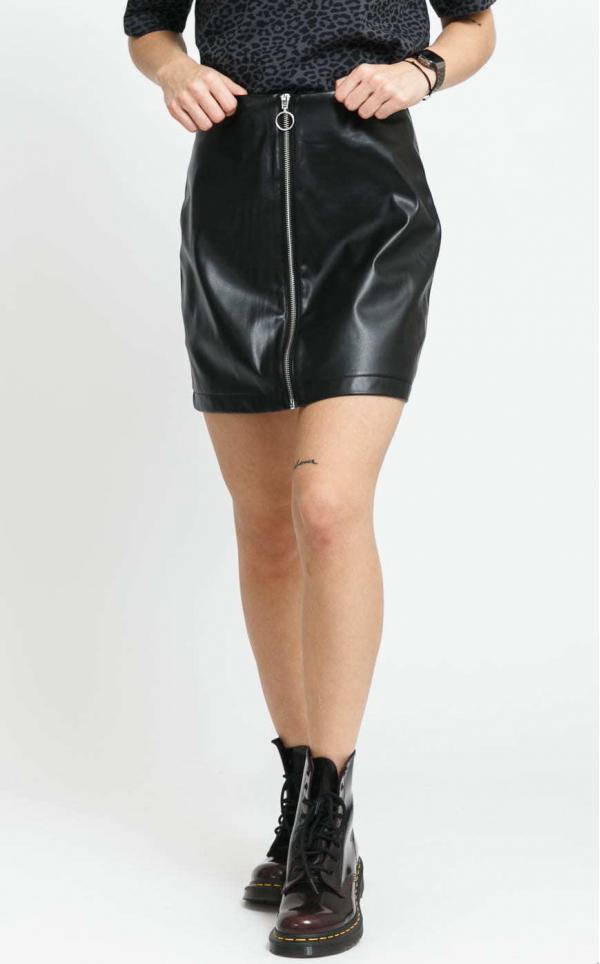 Urban Classics Ladies Faux Leather Zip Skirt černá