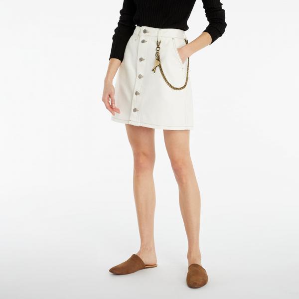 Tommy Jeans A-Line Short Denim Skirt White
