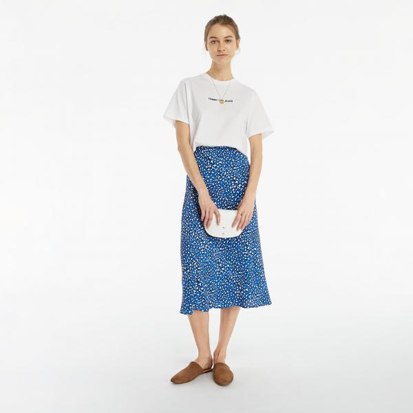 Tommy Jeans Midi Slip Skirt Abstract Leopard Print
