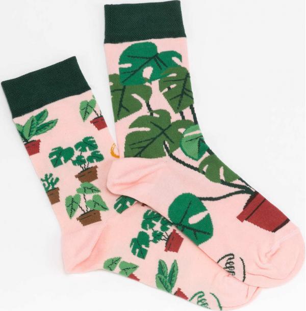 Many Mornings Plant Lover Socks růžové / tmavě zelené / zelené