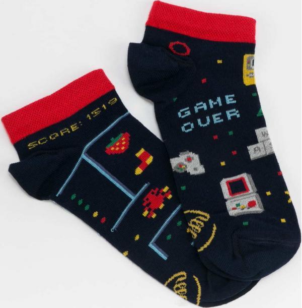 Many Mornings Game Over Low Socks navy / červené / šedé / žluté