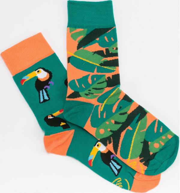 Many Mornings Tropical Heat Socks zelené / lososové