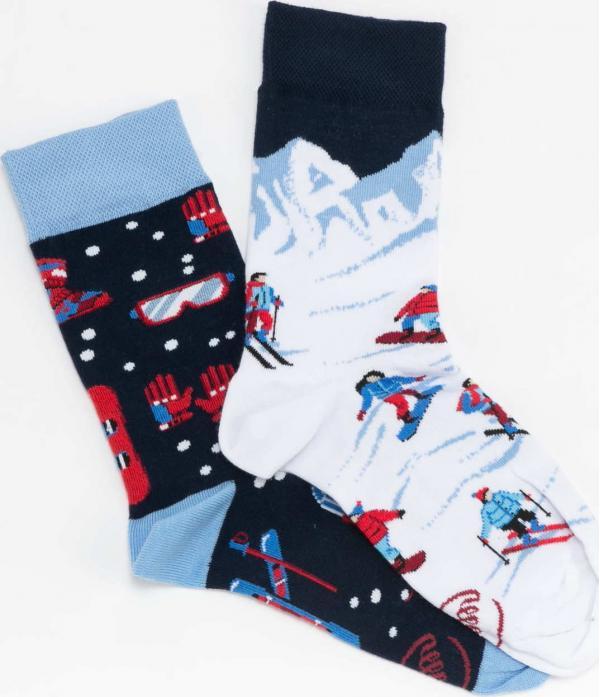 Many Mornings Alpine Ski Socks navy / bílé / modré / červené