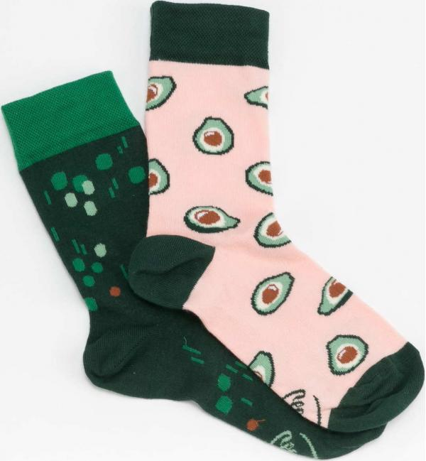 Many Mornings Green Avocado Socks tmavě zelené / růžové / zelené