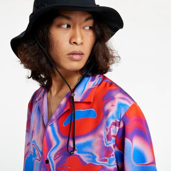McQ Silk Shirt Red & Nebula Blue