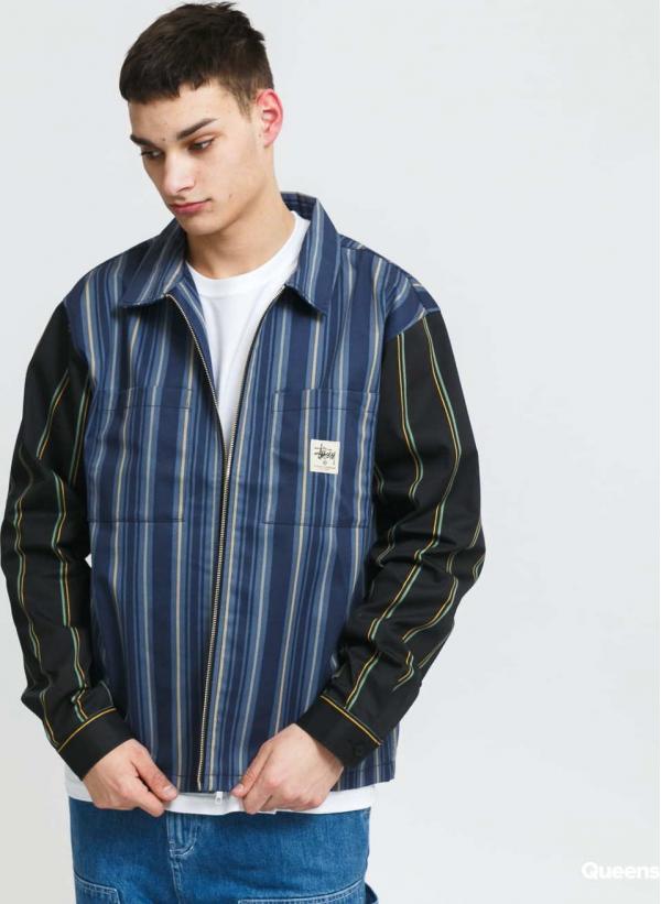 Stüssy Mix Stripe Zip Up Work LS Jacket navy / modrá / černá