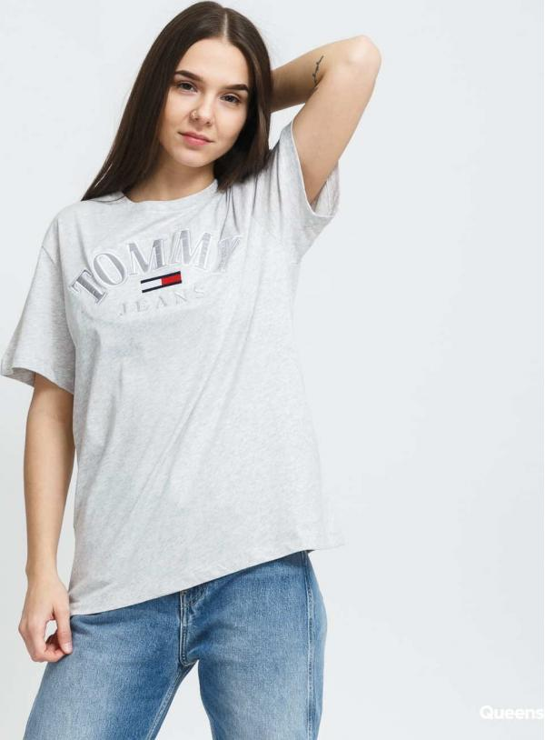 TOMMY JEANS W Relaxed College Tee melange šedé