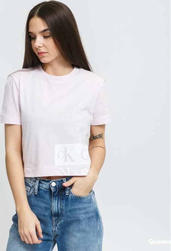 CALVIN KLEIN JEANS W Mirrored Logo Boxy Tee světle růžové
