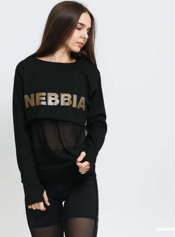 Nebbia Intense Mesh Tee černé / zlaté