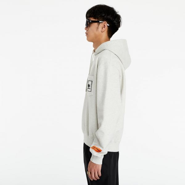 HERON PRESTON Pocket Periodic Hoodie Grey Melange/ White