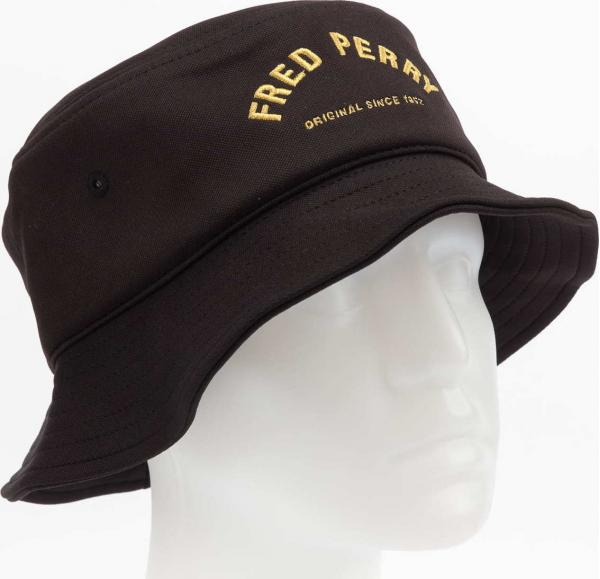 FRED PERRY Arch Branded Tricot Bucket Hat černý