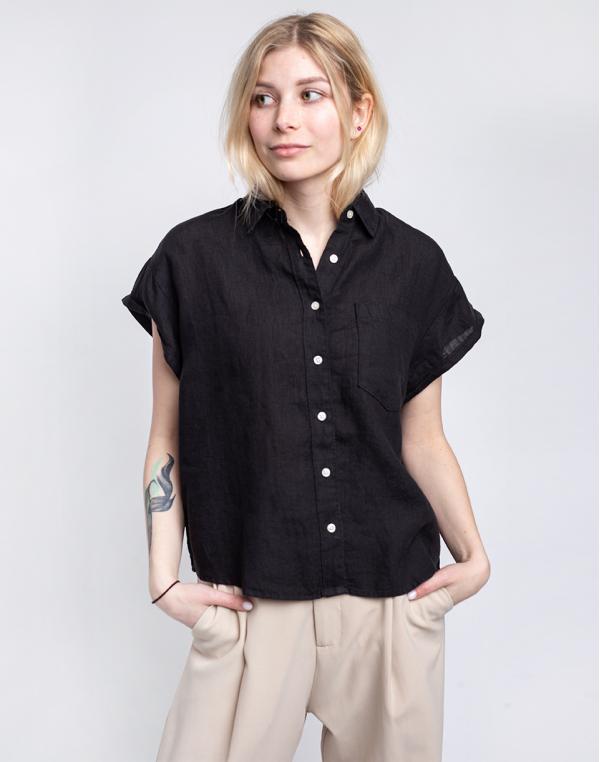Knowledge Cotton Aster Fold Up Short Sleeve Linen Shirt 1300 Black Jet XS