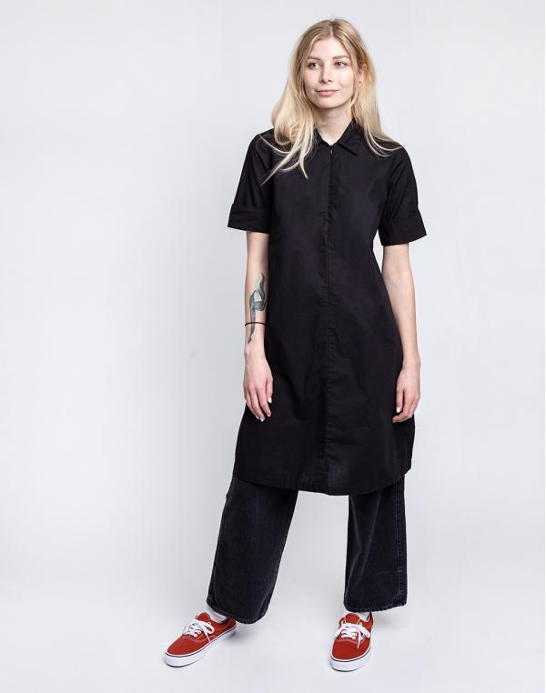 Knowledge Cotton Azalea Shirt Dress 1300 Black Jet XS