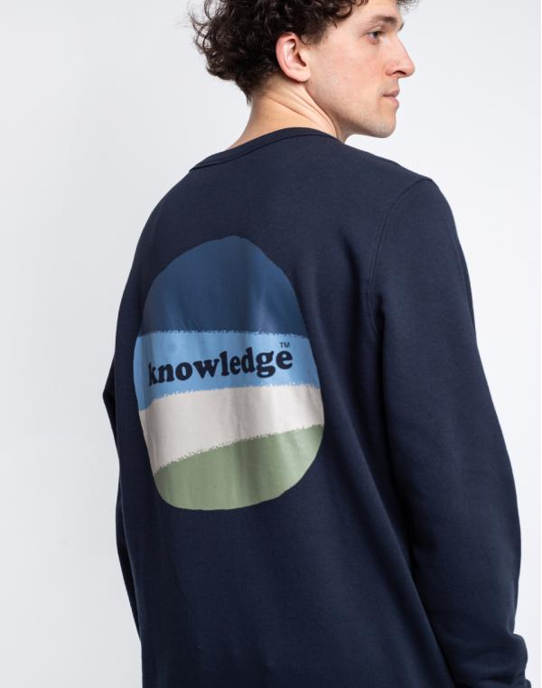 Knowledge Cotton Elm Basic Chest And Bag Print Sweat 1001 Total Eclipse M
