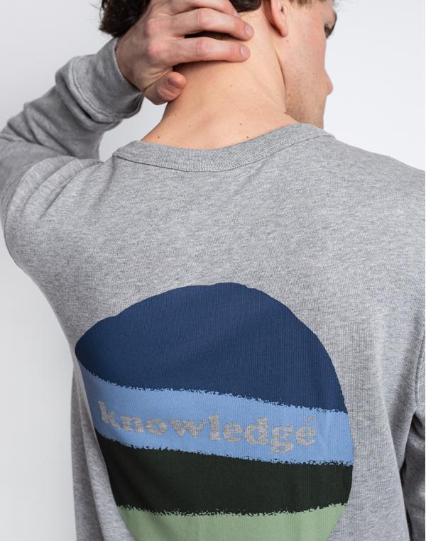 Knowledge Cotton Elm Basic Chest And Bag Print Sweat 1012 Grey Melange S