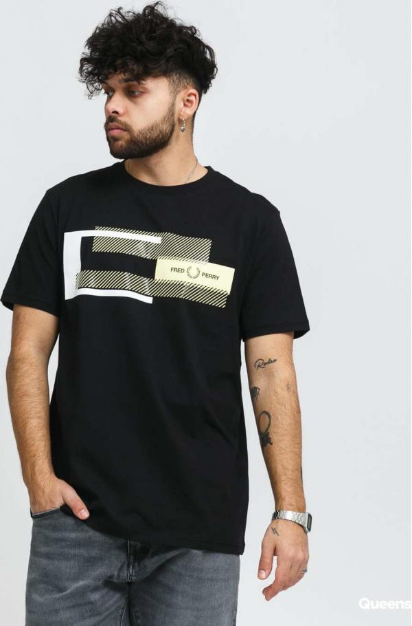 FRED PERRY Mixed Graphic Tee černé