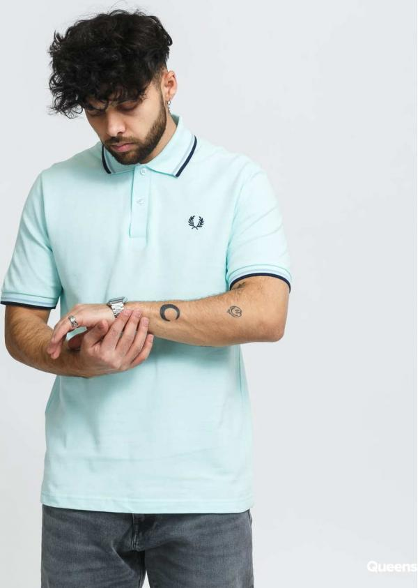 FRED PERRY Twin Tipped Fred Perry Shirt mentolové