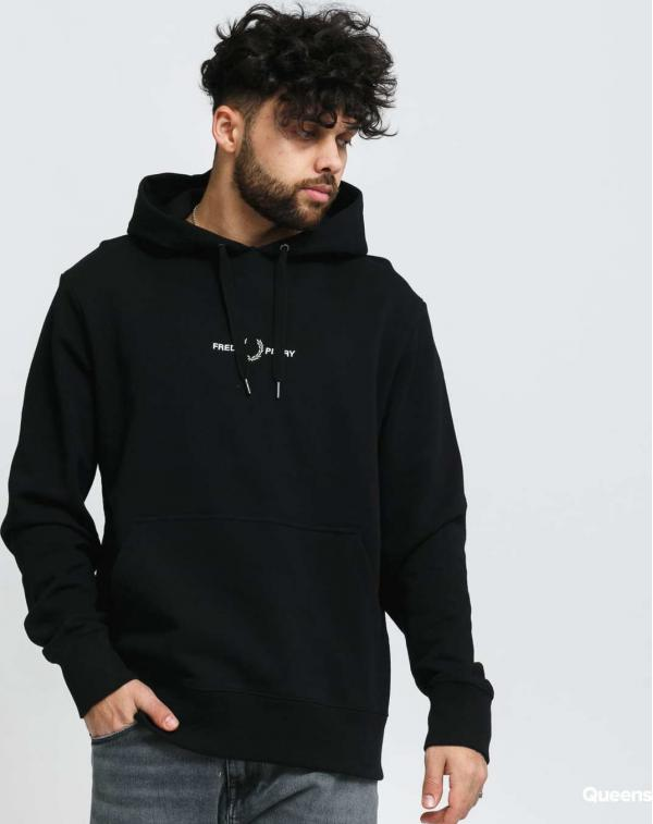 FRED PERRY Embroidered Hooded Sweatshirt černá