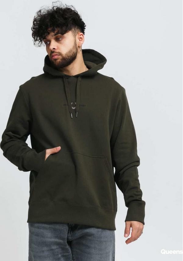 FRED PERRY Embroidered Hooded Sweatshirt tmavě olivová