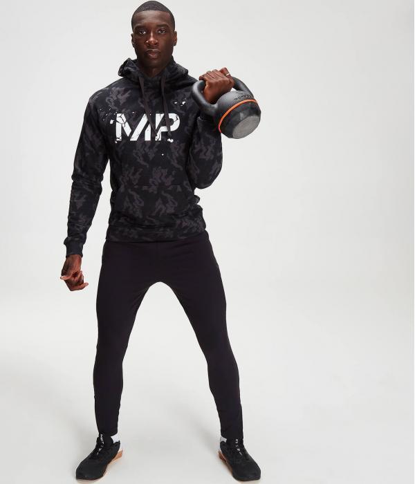 Myprotein  MP pánská mikina s kapucí Adapt Camo – Černá kamufláž -